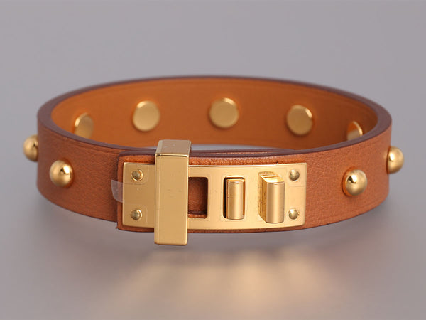 Hermès Gold Swift Mini Dog Clous Ronds Bracelet