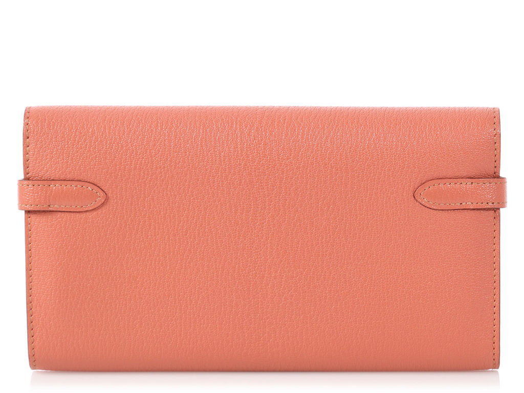 Hermès Rose Tea Chèvre Kelly Wallet