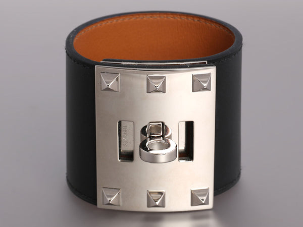 Hermès Black Box Leather Kelly Dog Extreme Bracelet