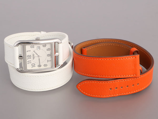 Hermès Mens Stainless Steel Cape Cod Double Tour Watch 29mm