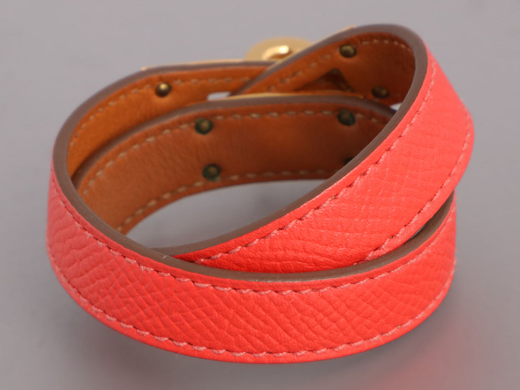Hermès Red Epsom Kelly Double Tour Bracelet