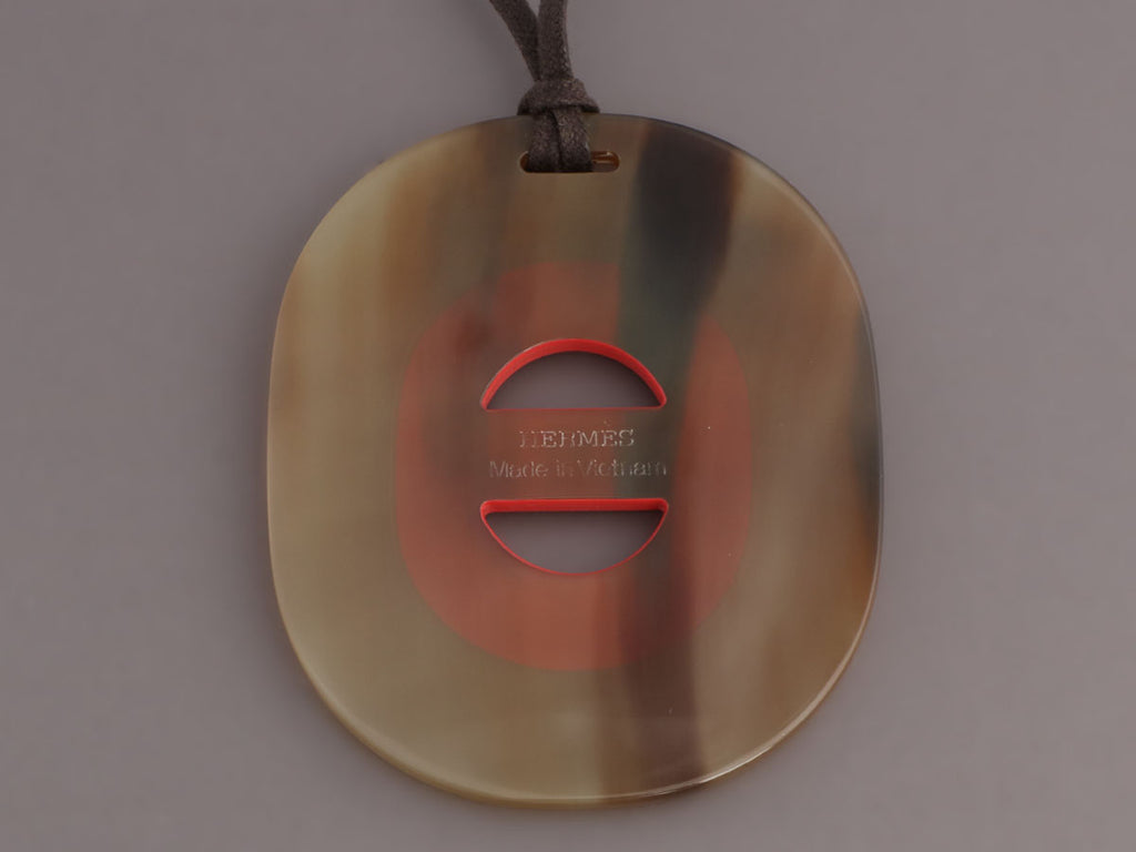 Hermès Coral Lacquered and Natural Horn Fidelio Pendant Necklace