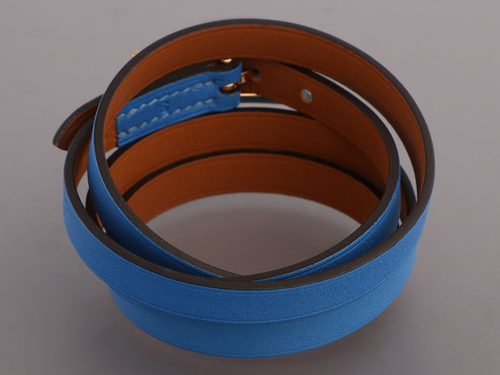 Hermès Small Blue Paradise Swift Hapi 4 Bracelet