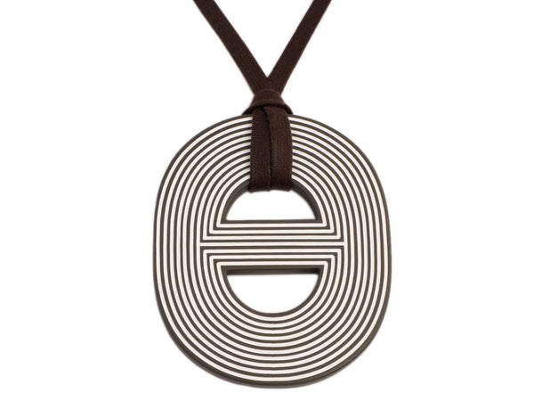 Hermès Lacquered Wood Fidelio Gravé Pendant Necklace