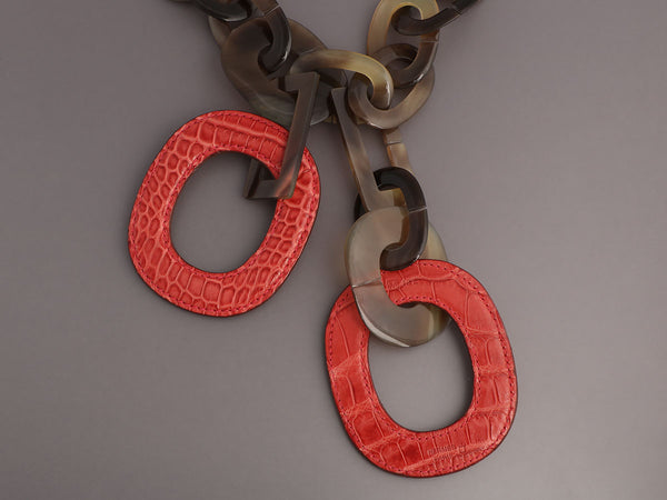 Hermès Rouge Indienne Alligator and Natural Horn Isidore Pendant Necklace
