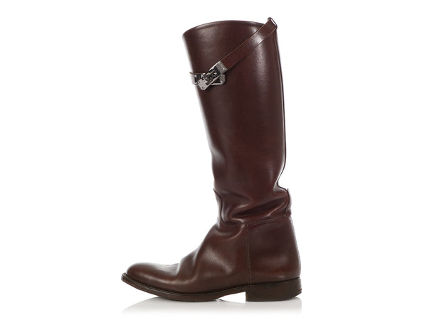 Hermès Moka Box Leather Jumping Boots