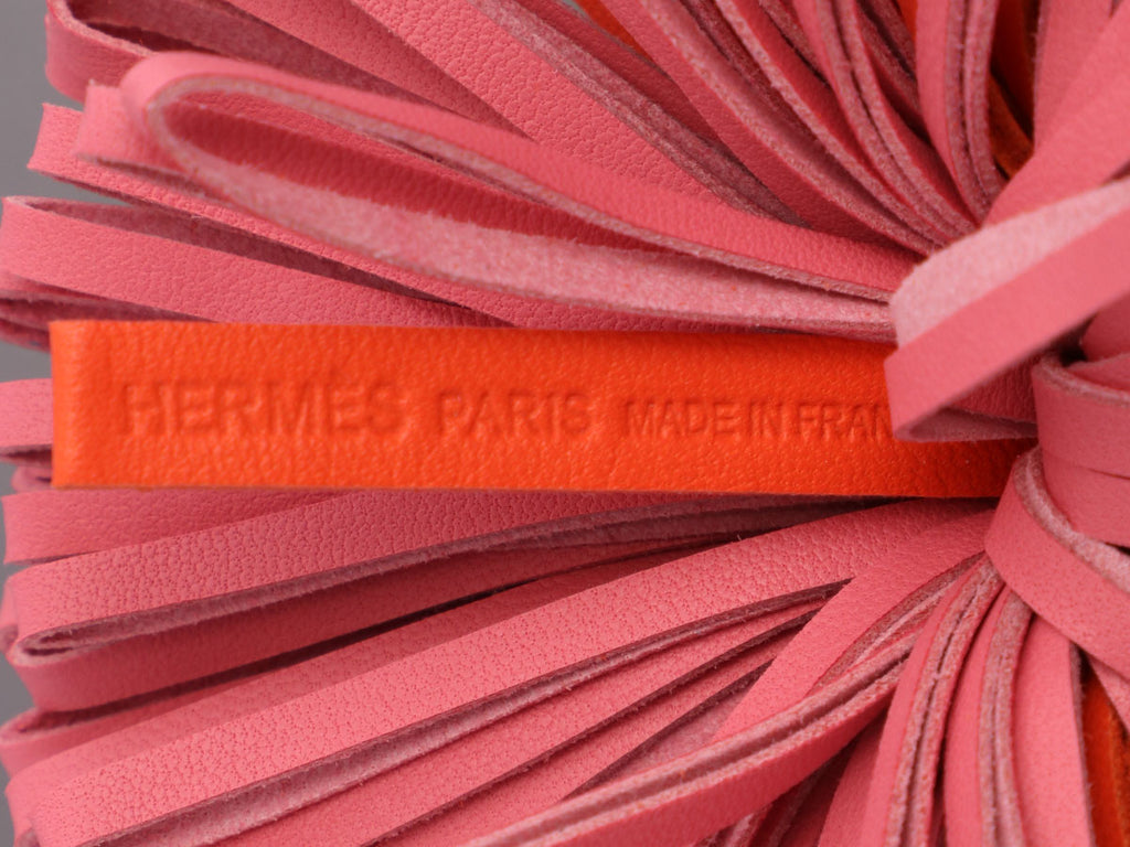 Hermès Orange Poppy and Azalée Lambskin Carmen Key Ring