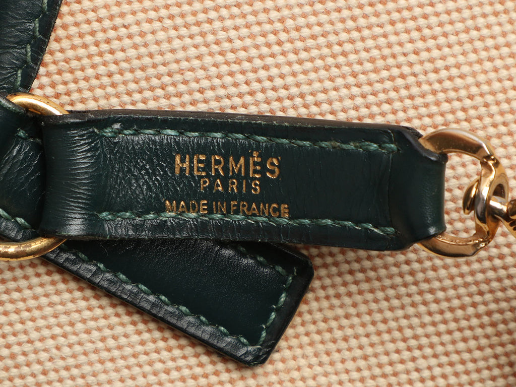 Hermès Vintage Vert Foncé Box Leather and Toile Trim 31