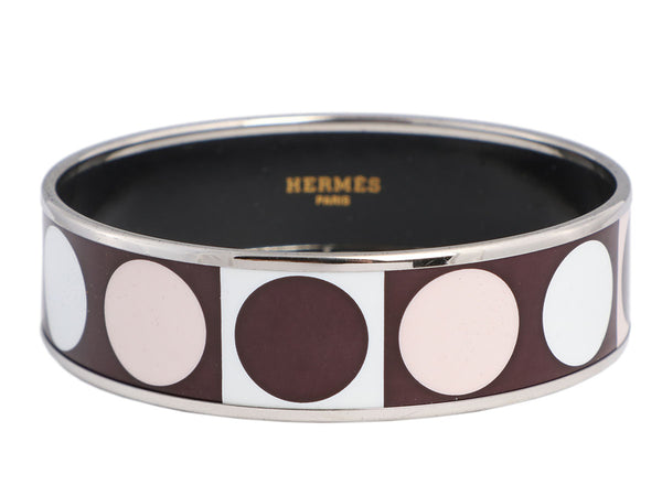 Hermès Wide Enamel Deco Dot Bangle