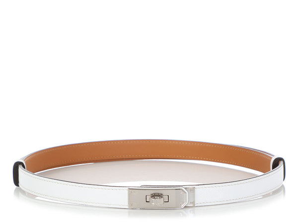 Hermès White Epsom Kelly Belt