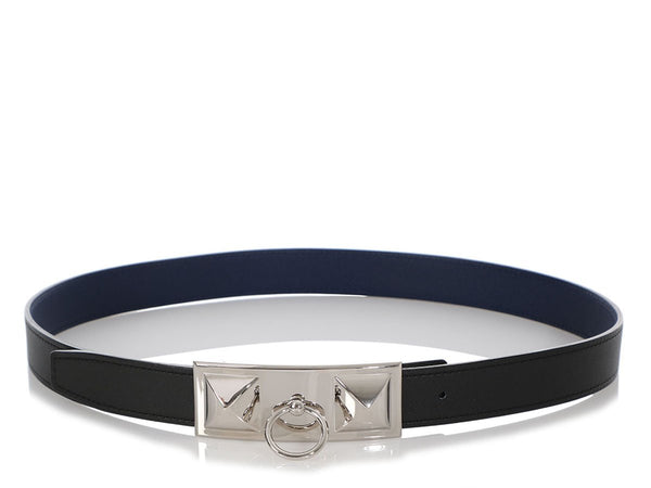 Hermès Noir and Bleu Saphir Sydney Reversible Belt Kit 24mm