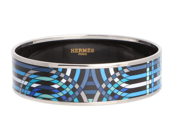Hermès Wide Blue Enamel Bangle
