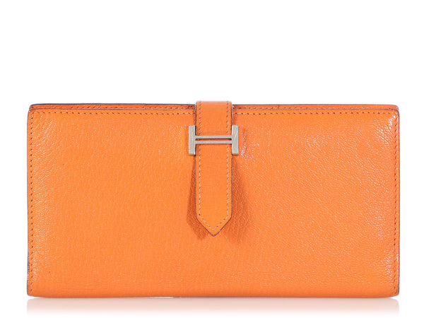 Hermès Orange Chèvre Béarn Wallet