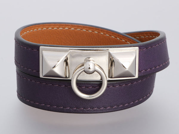 Hermès Purple Swift Rivale Double Tour Bracelet