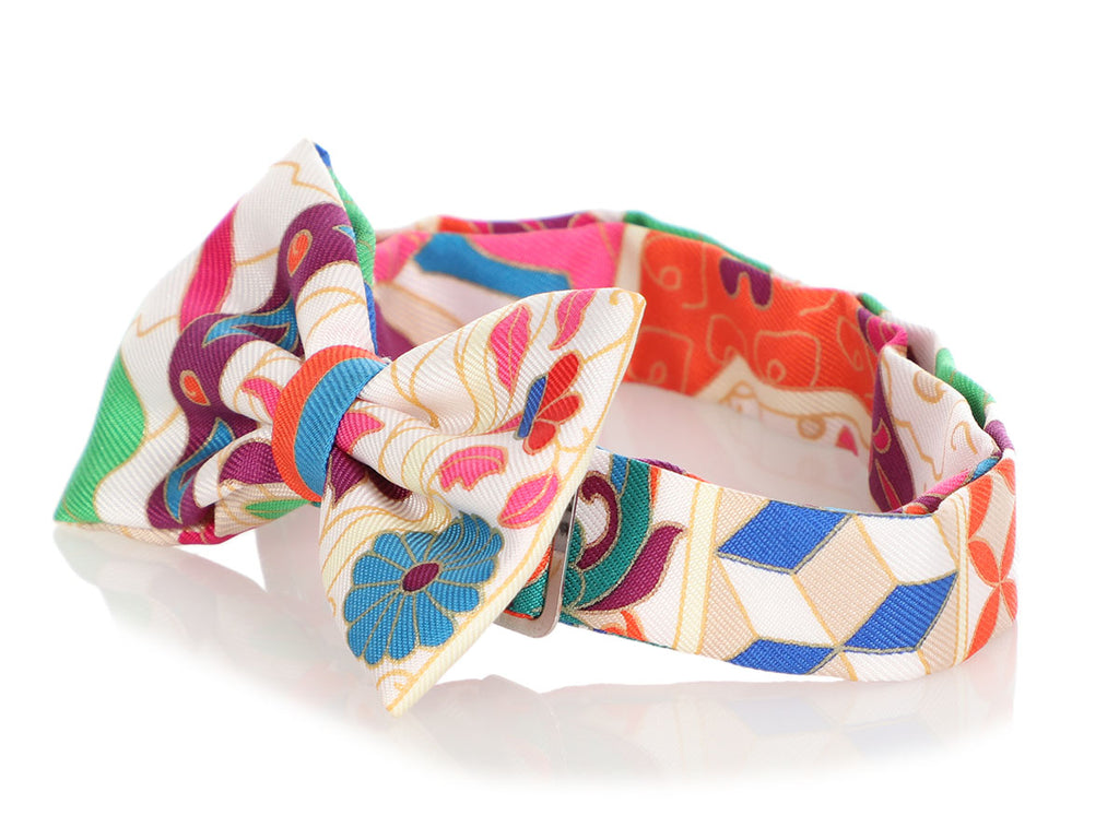 Hermès Mens Multicolor Silk Bow Tie