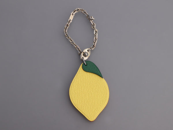 Hermès Chèvre Lemon Key Ring/Bag Charm