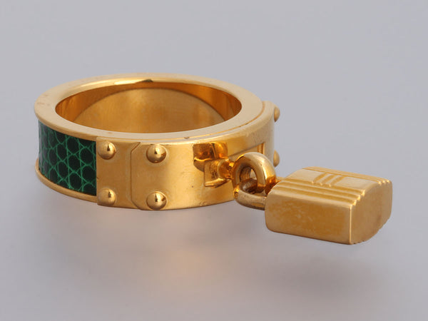 Hermès Green Lizard Kelly Lock Cadena Scarf Ring