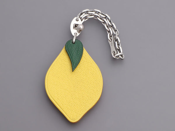 Hermès Yellow Chèvre Lemon Key Ring/Bag Charm