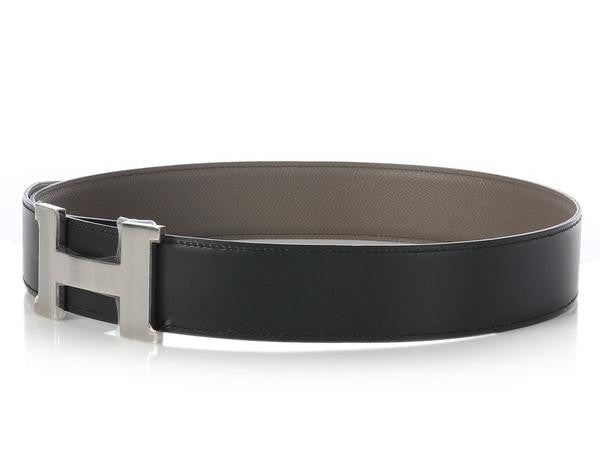 Hermès Etain and Black Reversible Belt Kit