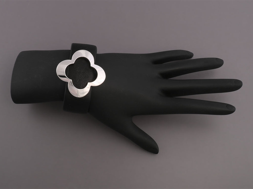 14K White Gold Clover and Leather Bracelet