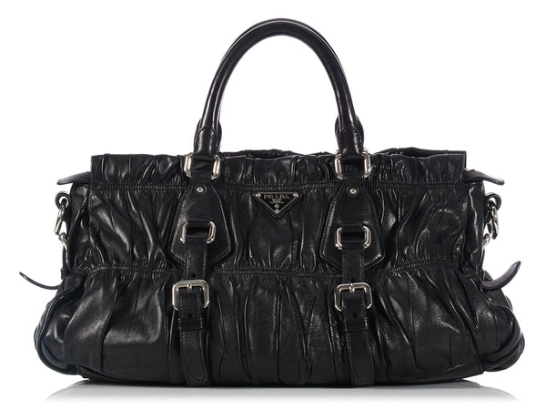 Prada Black Ruched Gaufre Bag