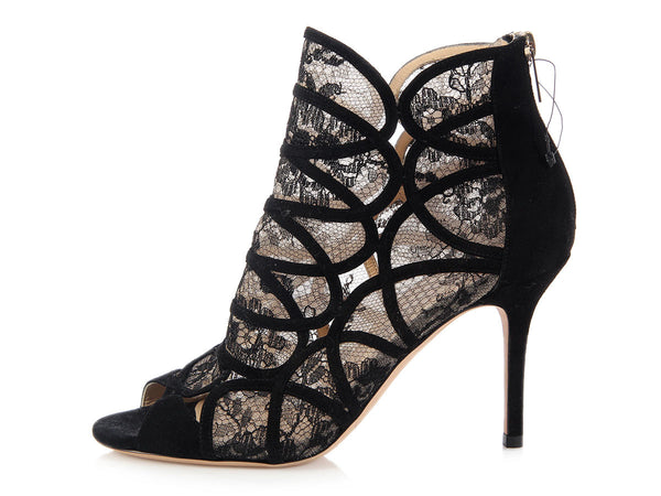 Jimmy Choo Black Lace and Suede Fonda Booties