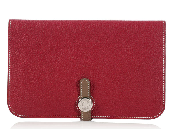 Hermès Étoupe and Red Combined Dogon Wallet