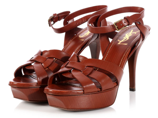 YSL Brown Tribute Platform Sandals