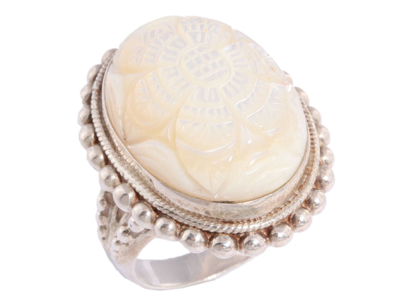 Stephen Dweck Carved Mother of Pearl Ring