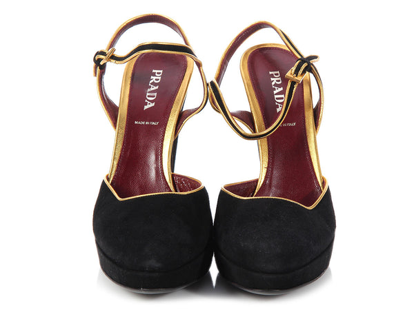 Prada Black and Gold Suede Pumps