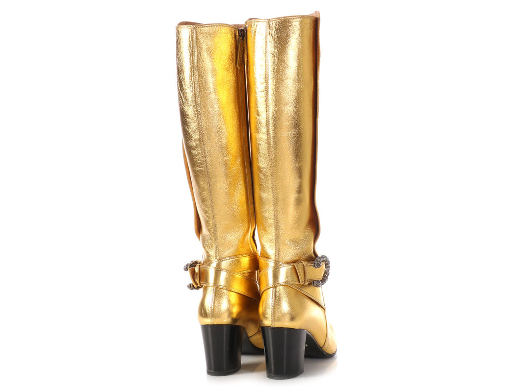 Gucci Metallic Gold Knee Boots
