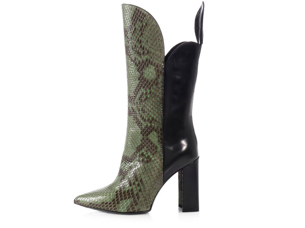 Louis Vuitton Green Python Pokerface Boots