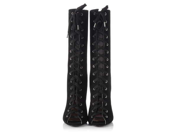 Giambattista Valli Black Suede Open Toe Lace Up Boots