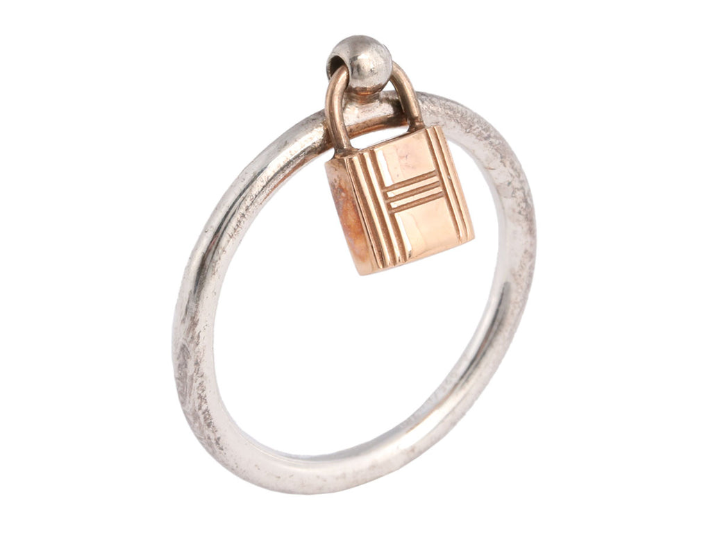 Hermès Sterling and 18K Rose Gold Mini Lock Ring