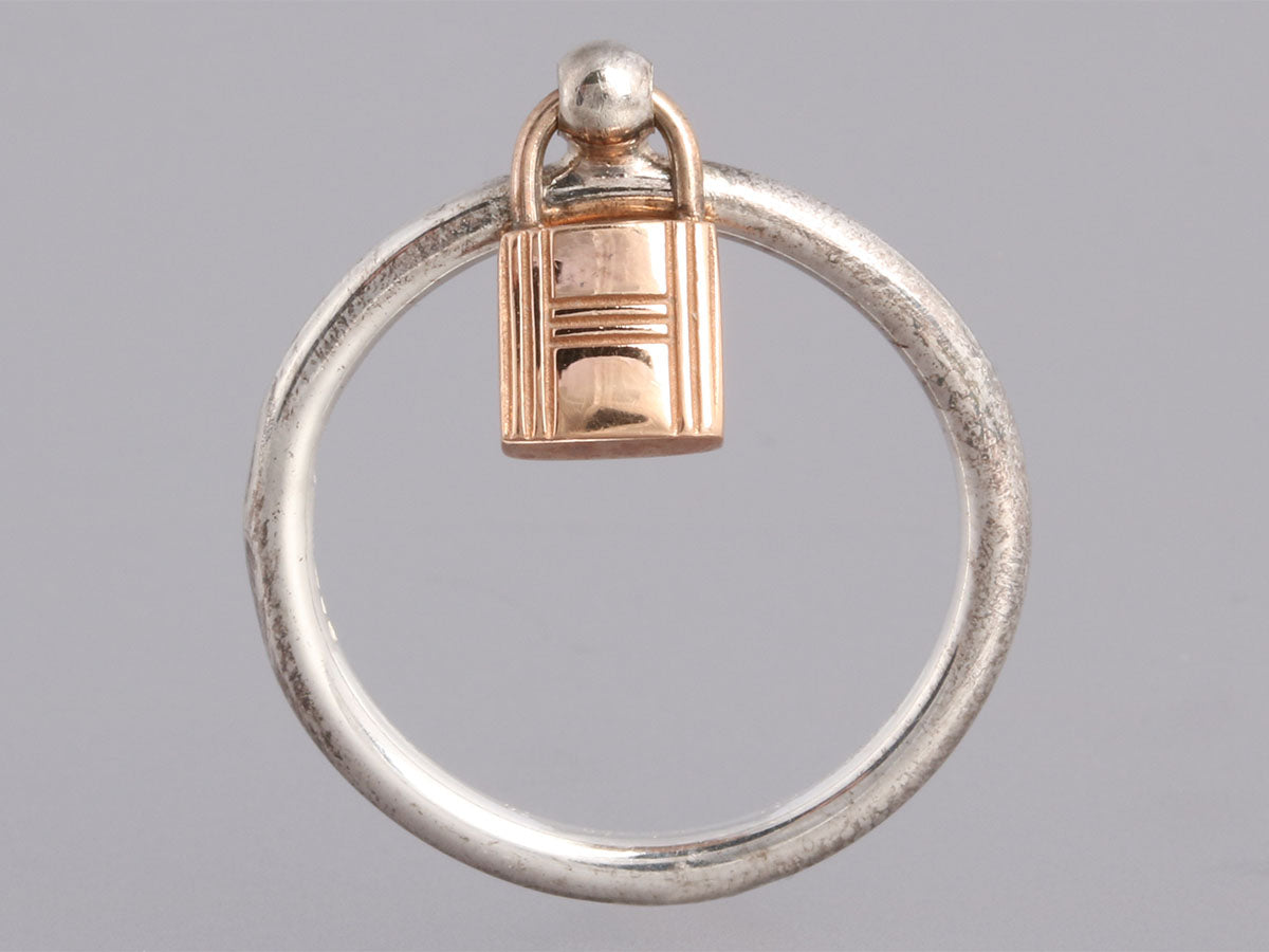 Herm s Sterling and 18K Rose Gold Mini Lock Ring