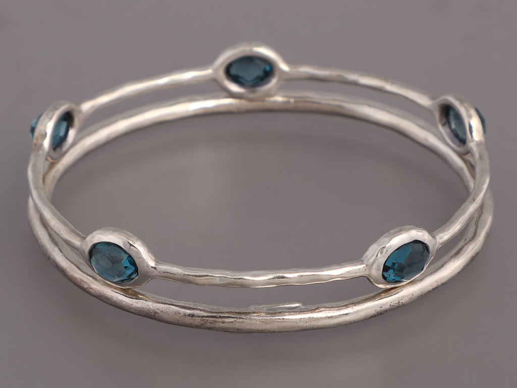 Ippolita Sterling Silver Blue Topaz Rock Candy Bangle Set
