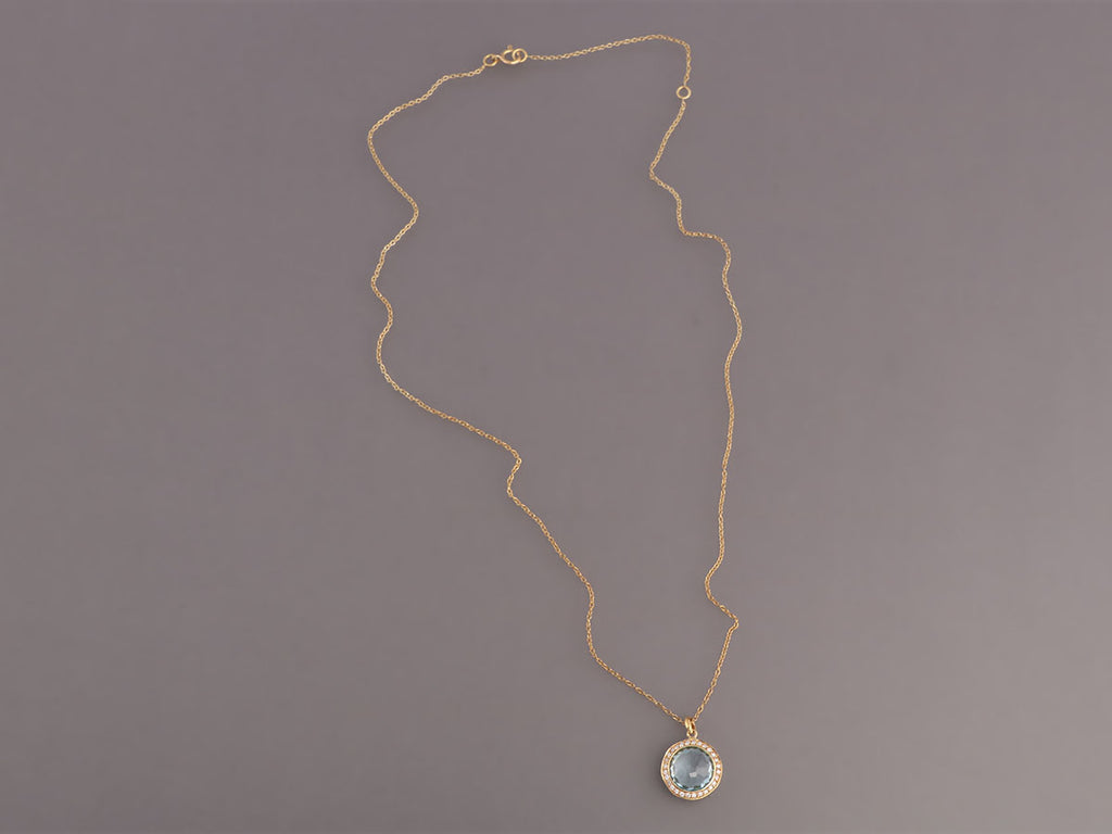 Ippolita 18K Yellow Gold Blue Topaz Diamond Mini Lollipop Pendant Necklace