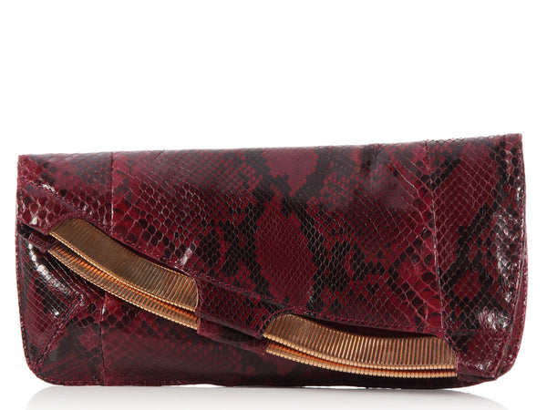 Jimmy Choo Metallic Chain Burgundy Lizard Clutch