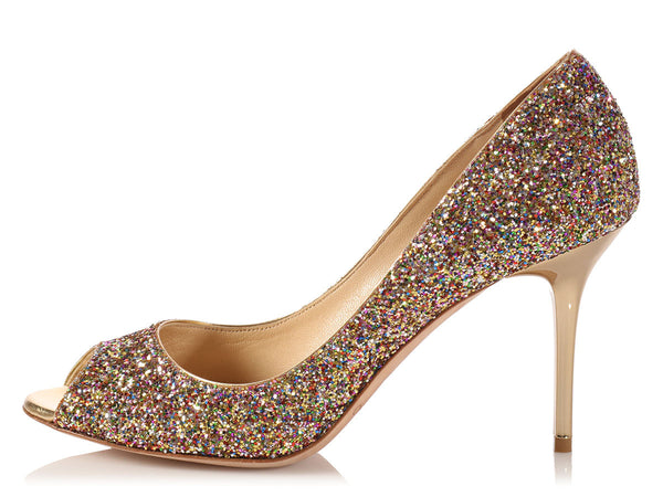 JC.K1007.03 Jimmy Choo Multicolor Glitter Evelyn Peep Toe Pumps