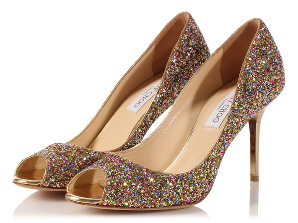Jimmy Choo Multicolor Glitter Evelyn Peep Toe Pumps