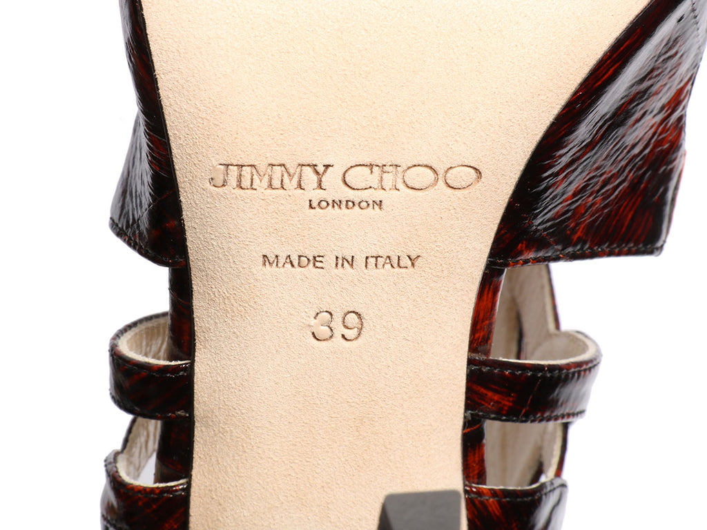 Jimmy Choo Red Prosper Cut-Out Painted Eel Skin Pumps