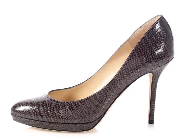 Jimmy Choo Dark Gray Embossed Platform Pumps