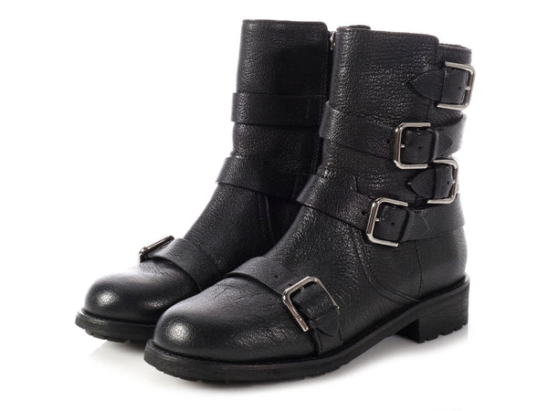 Jimmy Choo Black Dawson Side Zip Biker Boots