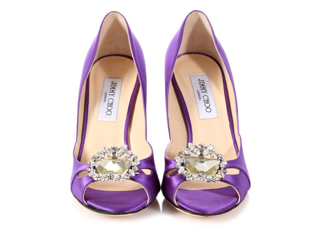 Jimmy Choo Purple Satin Jeweled Peep Toe Pumps