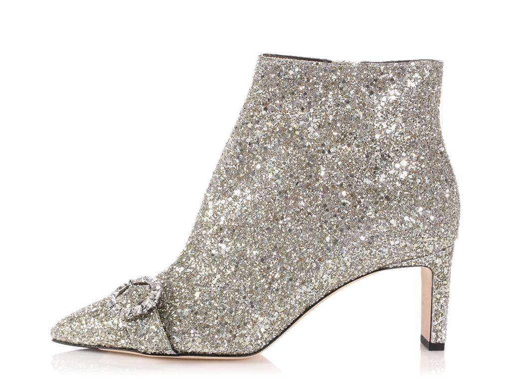 Jimmy Choo Silver Hanover Ankle Boots