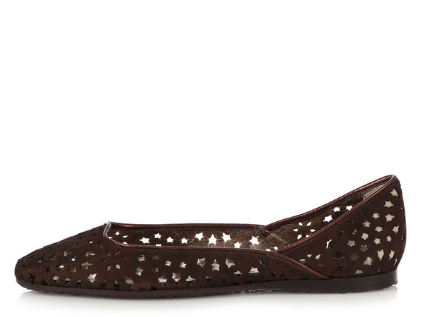 Jimmy Choo Chocolate Suede London Cut-Out Ballet Flats