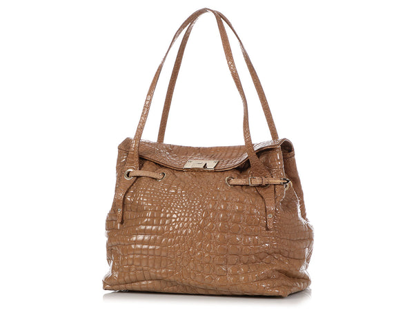 Jimmy Choo Beige Crocodile Embossed Rhea Fold Over Tote