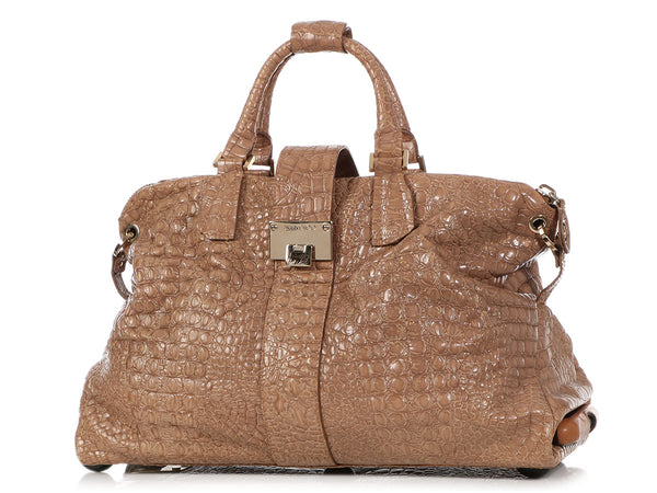 Jimmy Choo Beige Crocodile Embossed Travel Bag