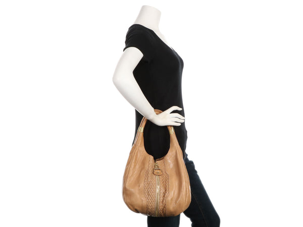 Jimmy Choo Beige Mandah Expandable Hobo