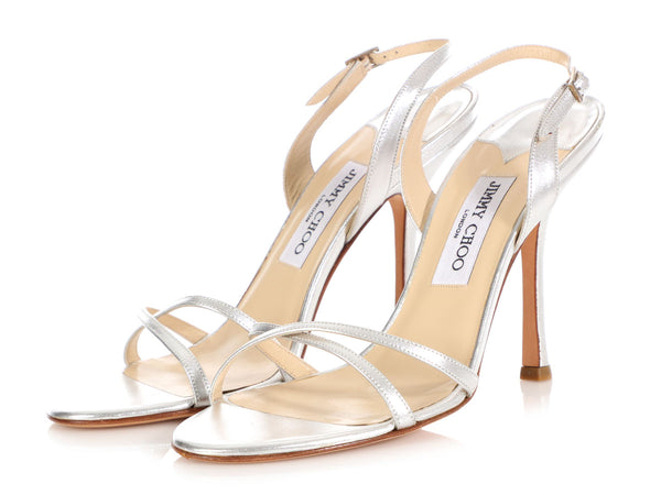 Jimmy Choo Silver India Slingback Sandals